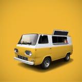 Camión amarillo de los alimentos de preparación rápida en plantilla amarilla del fondo Imagen de archivo libre de regalías