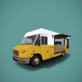 Camión amarillo de los alimentos de preparación rápida en plantilla azul del fondo Imagen de archivo libre de regalías
