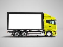 Camión amarillo moderno con el remolque blanco para el transporte de la sustancia pegajosa ilustración del vector