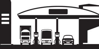 Camión, autobús y coche en la gasolinera Imagenes de archivo