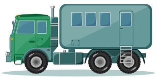 Camión con el remolque para transportar a la gente, vector Foto de archivo libre de regalías