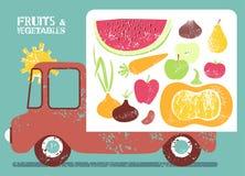 Camión con la fruta y verdura a bordo Ilustración del vector Fotos de archivo libres de regalías