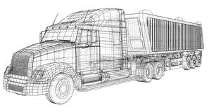 Camión con vector del remolque Aislado en blanco Maqueta del vehículo Ejemplo creado de 3d Alambre-marco ilustración del vector