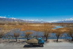 Camión con vistas del lago y de la cordillera Fotografía de archivo libre de regalías