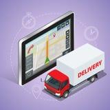 Camión de GPS Tableta de la pantalla táctil de la navegación de los gps de Geolocation y servicio de entrega rápido Imagen de archivo