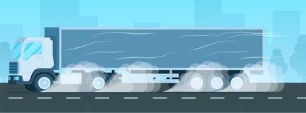 Camión de Grey Big Express Delivery Store que conduce rápidamente stock de ilustración