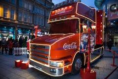 Camión de la Coca-Cola en Cardiff, el Sur de Gales, Reino Unido Fotografía de archivo libre de regalías