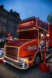 Camión de la Coca-Cola en Cardiff, el Sur de Gales, Reino Unido Imagen de archivo libre de regalías