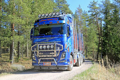 Camión de la madera de Volvo FH16 750 en el camino rural Fotografía de archivo