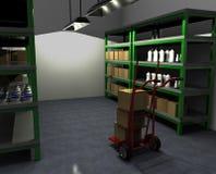 Camión de mano con la caja en almacén Imagen de archivo