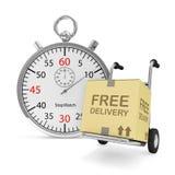 Camión de mano con una caja y un cronómetro Imagen de archivo libre de regalías