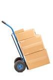 Camión de mano por completo de cajas Imagen de archivo libre de regalías