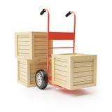 Camión de mano y cajas de madera Fotos de archivo libres de regalías
