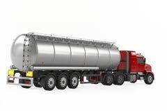 Camión de petrolero del gas combustible detrás aislado Foto de archivo libre de regalías