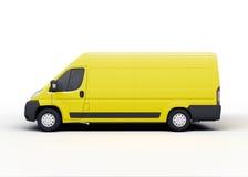 Camión de reparto amarillo aislado en blanco Fotos de archivo