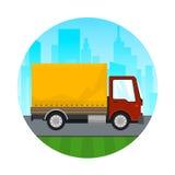 Camión de reparto anaranjado rojo del cargo del icono Imagen de archivo libre de regalías