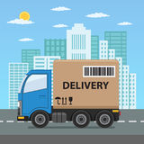 Camión de reparto con la caja de cartón Fotografía de archivo libre de regalías