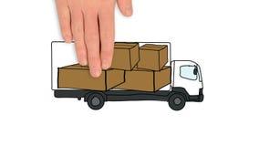 Camión de reparto del cargamento stock de ilustración