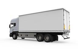 Camión de reparto del cargo aislado en el fondo blanco Foto de archivo
