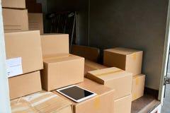 Camión de reparto del interior foto de archivo libre de regalías