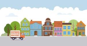 Camión de reparto en un pueblo ilustración del vector