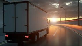 Camión de reparto que conduce en una carretera en la puesta del sol hecha excursionismo por un resplandor solar anaranjado brilla ilustración del vector