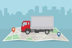 Camión de reparto y mapa en fondo de la ciudad Servicios, logística y carga de transporte del concepto de las mercancías imagenes de archivo