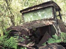 Camión de Rusty Historic 1930 que se deshace en el bosque Fotos de archivo
