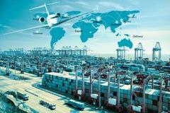 Camión del envase, nave en puerto y avión de carga de la carga en transpo imágenes de archivo libres de regalías