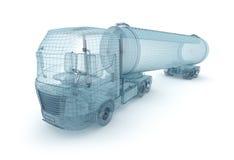 Camión del petróleo con el contenedor para mercancías, modelo del alambre. Mis los propios diseño stock de ilustración