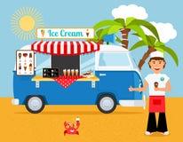 Camión e iceman del helado Imagen de archivo libre de regalías