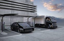 Camión eléctrico híbrido y coche eléctrico blanco en la estación de carga stock de ilustración