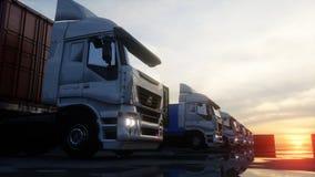Camión en el depósito del envase, almacén, puerto Contenedores para mercancías Concepto logístico y del negocio representación 3d ilustración del vector