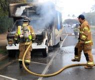 Camión en el fuego Imagen de archivo libre de regalías