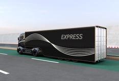 Camión híbrido negro en la carretera ilustración del vector