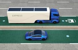 Camión híbrido y coche eléctrico azul en carril de carga inalámbrico ilustración del vector