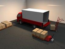 Camión, handtruck y handlift Imágenes de archivo libres de regalías