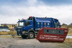 Camión noruego de la eliminación de residuos Fotos de archivo libres de regalías