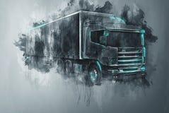 Camión pintado del tractor remolque en gris Fotos de archivo