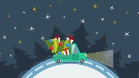 Camión plano del transporte de la entrega, furgoneta con el paquete de la caja de regalo en blanco en víspera de Navidad libre illustration