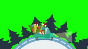 Camión plano del transporte de la entrega, furgoneta con el paquete de la caja de regalo en blanco en víspera de Navidad stock de ilustración