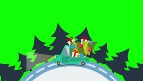 Camión plano del transporte de la entrega, furgoneta con el paquete de la caja de regalo en víspera de Navidad ilustración del vector