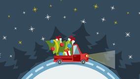 Camión plano del transporte de la entrega, furgoneta con el paquete de la caja de regalo en víspera de Navidad stock de ilustración
