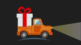 Camión plano del transporte de la entrega, furgoneta con la caja de regalo stock de ilustración