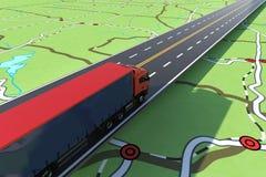 Camión rápido en una carretera Seguimiento de GPS del envío representación 3d stock de ilustración