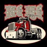 Camión retro de la historieta semi con el cartel de las letras del vintage ilustración del vector