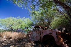 Camión rojo abandonado en árboles cerca de la playa de Waialea Foto de archivo