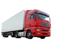 Camión rojo con el acoplado blanco sobre blanco Foto de archivo libre de regalías