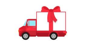 Camión rojo con paseos grandes de la caja de regalo ilustración del vector