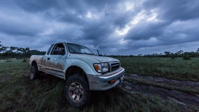 Camión sucio del safari en sabana almacen de video